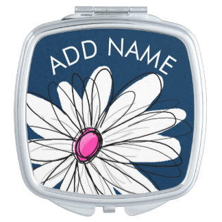 Trendy Daisy Floral Illustration - navy and pink Mirror For Makeup