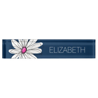 Trendy Daisy Floral Illustration - navy and pink Name Plate