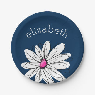 Trendy Daisy Floral Illustration - navy and pink Paper Plate