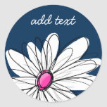 Trendy Daisy Floral Illustration - navy and pink Round Sticker