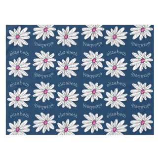 Trendy Daisy Floral Illustration - navy and pink Tablecloth