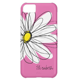 Trendy Daisy Floral Illustration - pink yellow iPhone 5C Case