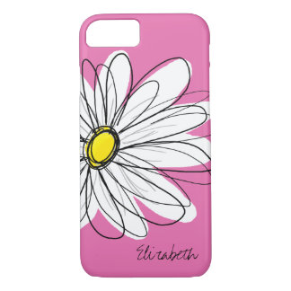 Trendy Daisy Floral Illustration - pink yellow iPhone 8/7 Case