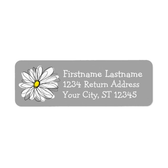 Trendy Daisy grey and yellow Return Address