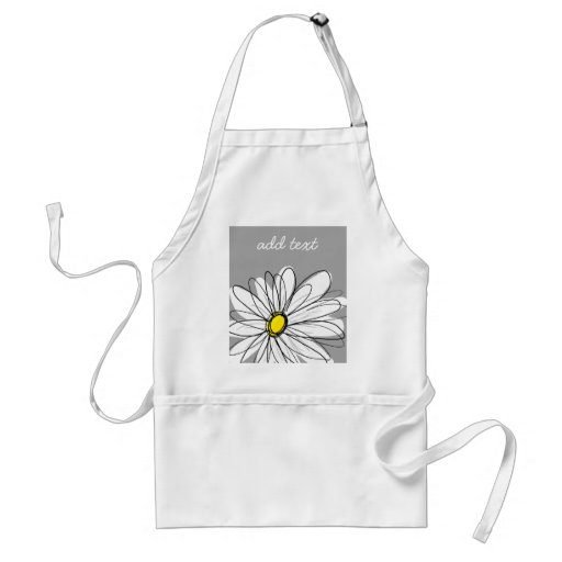 Trendy Daisy with gray and yellow Apron