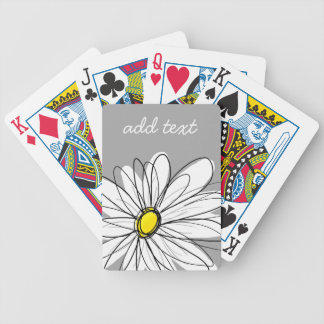 Trendy Daisy with gray and yellow Bicycle Playing Cards