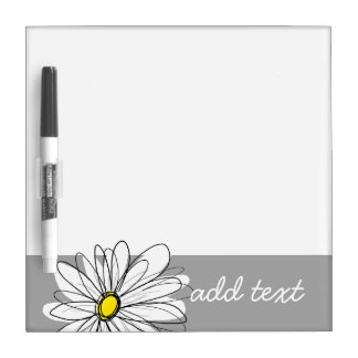 Trendy Daisy with gray and yellow Dry Erase Board