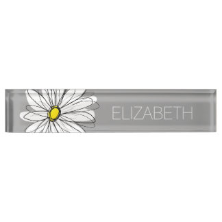 Trendy Daisy with gray and yellow Name Plate