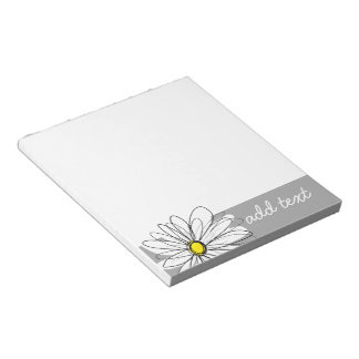 Trendy Daisy with gray and yellow Notepad