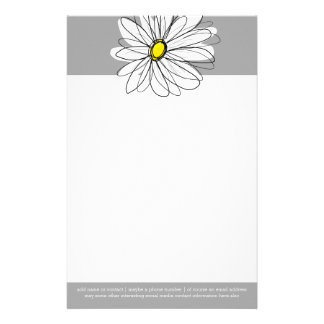 Trendy Daisy with gray and yellow Personalised Stationery