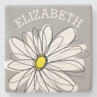 Trendy Daisy with gray and yellow Stone Coaster