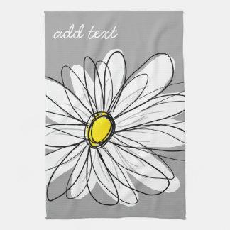 Trendy Daisy with gray and yellow Tea Towel