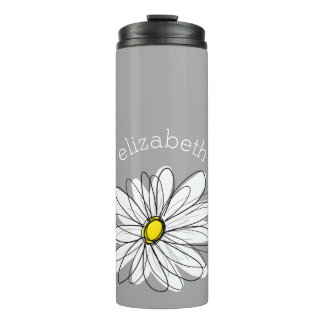 Trendy Daisy with gray and yellow Thermal Tumbler