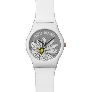 Trendy Daisy with gray and yellow Watch