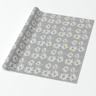 Trendy Daisy with gray and yellow Wrapping Paper