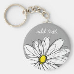Trendy Daisy with grey and yellow Basic Round Button Key Ring