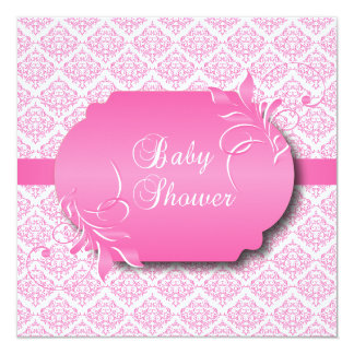 Trendy Damask and Pink for a Baby Shower 13 Cm X 13 Cm Square Invitation Card