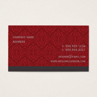 Trendy Damask Crimson Business Card Template