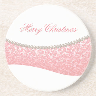 Trendy damask pearls Christmas holiday Coasters