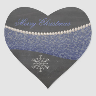 trendy damask pearls Christmas holiday snowflake Heart Sticker