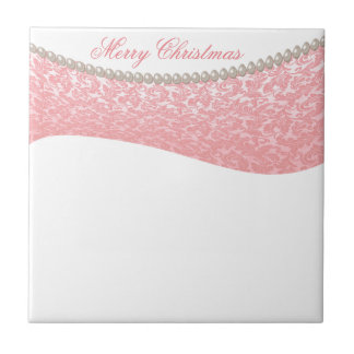 Trendy damask pearls Christmas holiday Ceramic Tiles