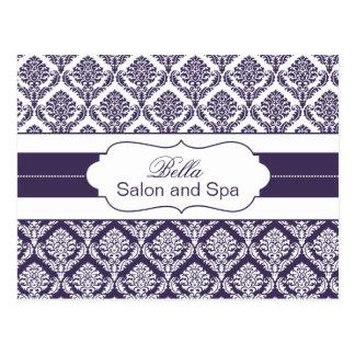 trendy damask purple business ThankYou Cards