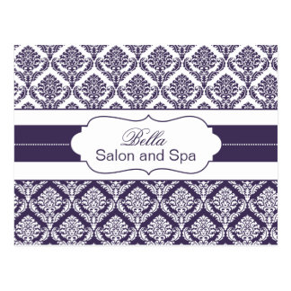 trendy damask purple business ThankYou Cards Postcard