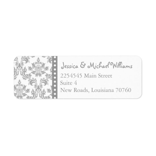 Trendy Damask Return Address Label
