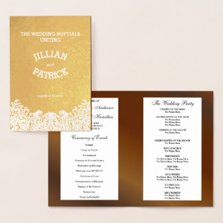 Trendy Damask Walnut Wedding Program Template
