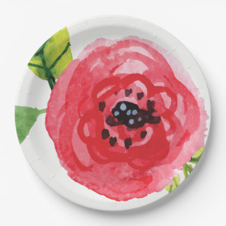 Trendy Dark Pink Watercolor Flower | Paper Plate