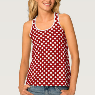 Trendy Dark red and White polka dots pattern Tank Top