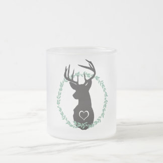 TRENDY DEER WITH HEARTS FROSTED GLASS COFFEE MUG