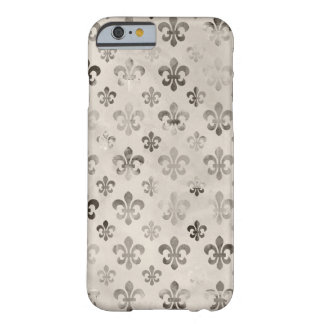 Trendy Distressed Silver Grey Fleur De Lis Pattern Barely There iPhone 6 Case