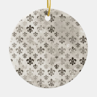 Trendy Distressed Silver Grey Fleur De Lis Pattern Christmas Ornament