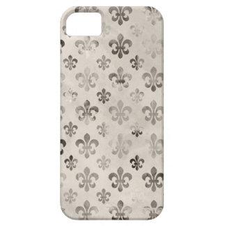 Trendy Distressed Silver Grey Fleur De Lis Pattern iPhone 5 Cases