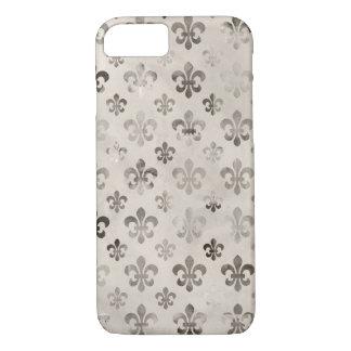 Trendy Distressed Silver Grey Fleur De Lis Pattern iPhone 7 Case