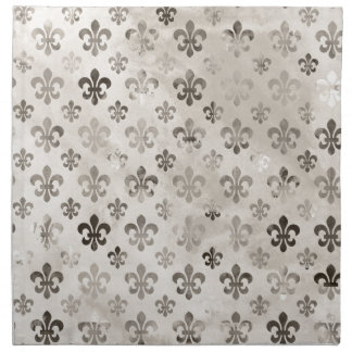 Trendy Distressed Silver Grey Fleur De Lis Pattern Napkin
