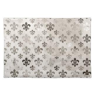Trendy Distressed Silver Grey Fleur De Lis Pattern Placemats