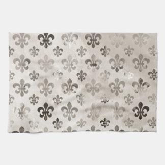 Trendy Distressed Silver Grey Fleur De Lis Pattern Tea Towel