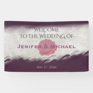 Trendy eggplant watercolor chic rose wedding banner