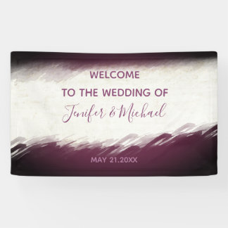 Trendy eggplant watercolor chic wedding banner
