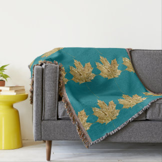 Trendy Elegant Blue and Gold Maple Leaf Throw