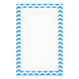 Trendy, elegant bright blue chevron zigzag stationery
