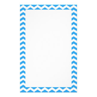 Trendy, elegant bright blue chevron zigzag stationery paper