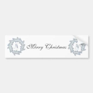 Trendy elegant Christmas wreath snowman Bumper Sticker