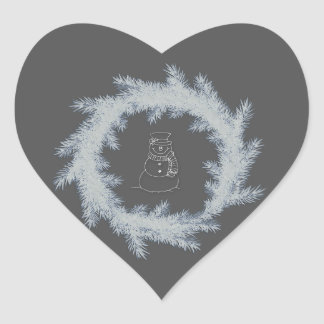 Trendy elegant Christmas wreath snowman Heart Sticker