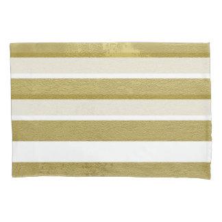 Trendy Elegant Gold Striped Pillow Cases