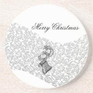 Trendy elegant winter christmas  holiday reindeer beverage coaster