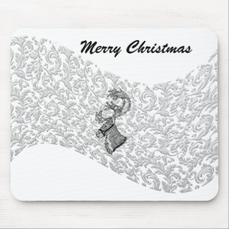 Trendy elegant winter christmas  holiday reindeer mouse pad
