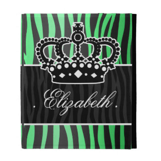 trendy emerald green and black zebra print iPad cases
